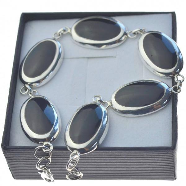 Bransoletka srebrna z dużymi czarnymi kamieniami srebro 925