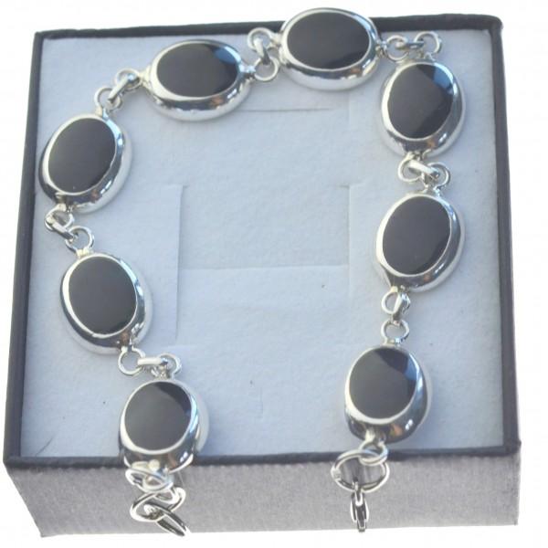 Bransoletka srebrna z czarnymi kamieniami srebro 925 bran010