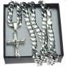 duży Łańcuszek srebrny pancerka + modny krzyżyk  kr049